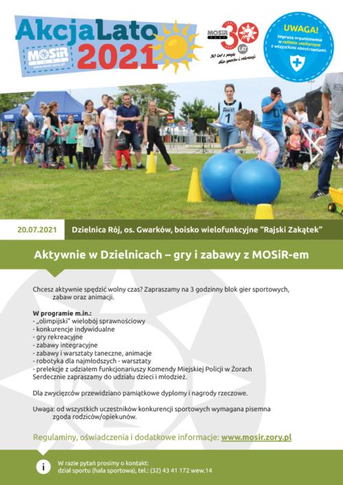 Na plakacie zapowiedź zajęć w dzielnicach, u góry logo Akcji Lato 2021, w środku zdjęcie przedstawiające konkurencje sportowe na trawie