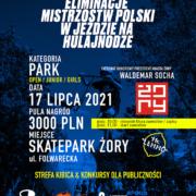 Na plakacie informacje o mistrzostwach w jeździe na hulajnodze, w tle ciemne niebieskie zdjęcie skateparku, dookoła logotypy