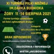 Plakat zapowiadający turniej piłki nożnej, na dole logotypy partnerów, w tle przyciemnione zdjęcie murawy piłkarskiej