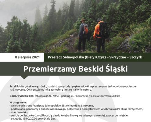 Na plakacie zapowiedź wyjazdu w góry, u góry logo Akcji Lato 2021, w środku zdjęcie przedstawiające dwóch turystów na ścieżce w górach