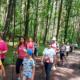na zdjęciu grupa uczestników nordic walking maszerująca w lesie