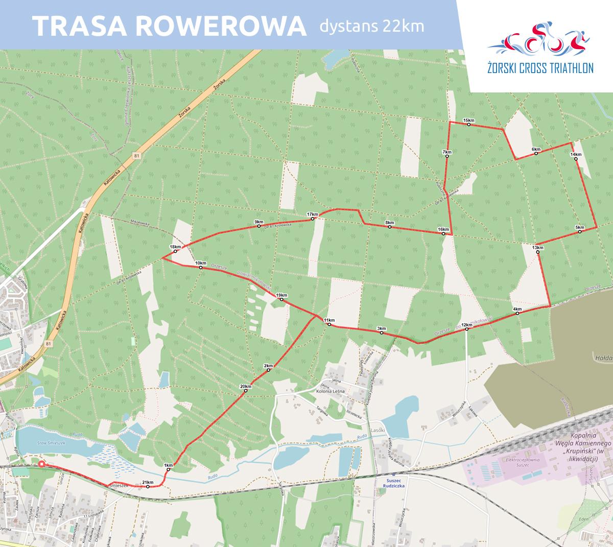 Grafika przedstawia mapę trasy rowerowej