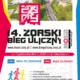 na plakacie informacje o żorskim biegu ulicznym na białym tle, u góry zdjęcie lotnicze biegu, na środku nazwa imprezy, z boku kolorowe elementy