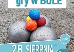 na plakacie informacja o treningu gry w bule na niebieskim tle, w środku zdjęcie sprzętu do gry w bule