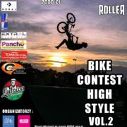 na plakacie informacje dotyczące zawodów rowerowych, z boku logotypy, w tle zdjęcie rowerzysty wykonującego trick na tle zachodzącego słońca