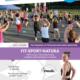 Na plakacie zapowiedź zajęć fitness, u góry logo Akcji Lato 2021, w środku zdjęcie przedstawiające zajęcia fitness w parku cegielnia