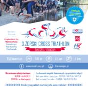 Na plakacie zapowiedź żorskiego cross trathlonu, na dole logo imprezy, u góry zdjęcia z ubiegłorocznej edycji - zawodnicy na starcie, kolarz, biegacz, medale i pływacy