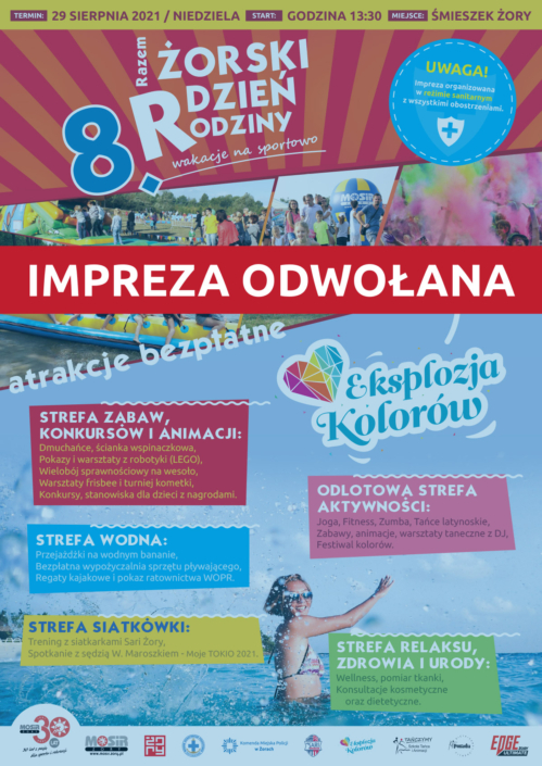 na plakacie informacje o żorskim dniu rodziny, w tle zdjęcia atrakcji (dmuchańce, festiwal kolorów, konkurencje) oraz duże zdjęcie dziewczynki w wodzie; na dole logotypy