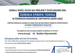 na grafikach list dyrektora opisujący sportowe projekty budżetu obywatelskiego, instrukcja głosowania i wizualizacja żorskiej strefy tenisa