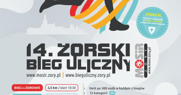 na plakacie informacje dotyczące żorskiego biegu ulicznego, na dole logotypy partnerów, u góry ilustracja biegacza w logo miasta żory