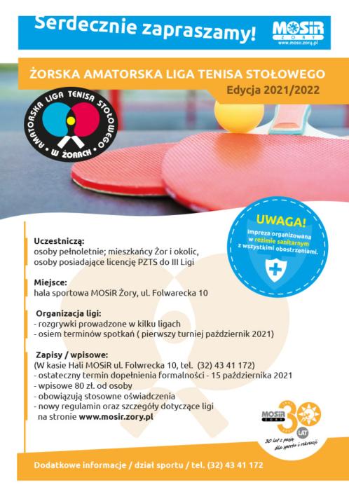 na plakacie informacje o lidze tenisa stołowego, u góry zdjęcie rakietek i piłki na stole