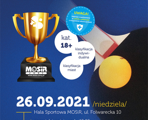 na plakacie informacje o turnieju tenisa stołowego, na niebieskim tle rakietka i piłka, z boku ilustracja pucharu