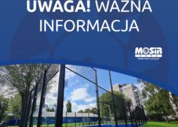 """grafika przedstawia napis """"uwaga! ważna informacja"""", u dołu zdjęcie boiska do padla"""